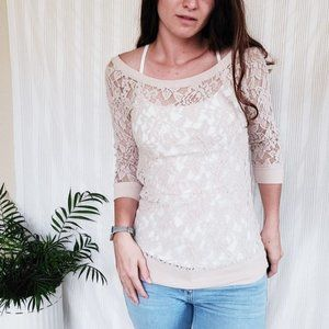Express Cream Floral Lace Boatneck Blouse